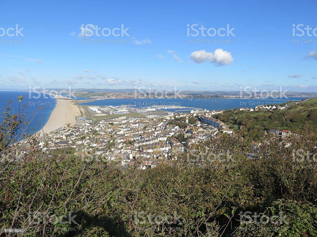 village of Chesil and marina stock photo