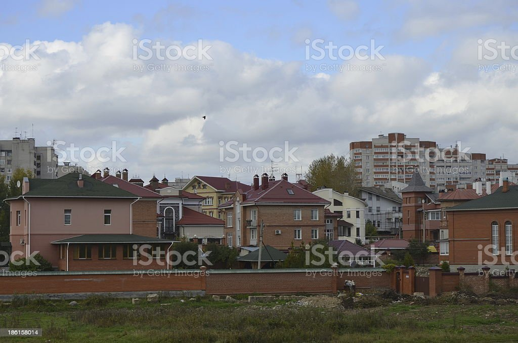 Village of cottages in the city royalty-free stock photo