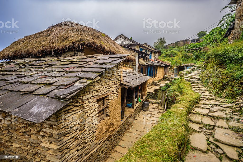 Village of Dhampus in the Himalayas mountains in Nepal stock photo