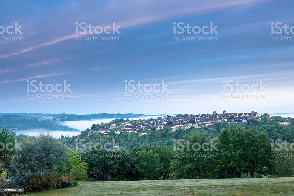Village of Domme at dawn stock photo