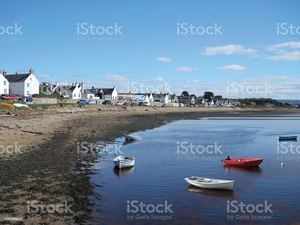 Village of Findhorn Moray Firth Scotland stock photo