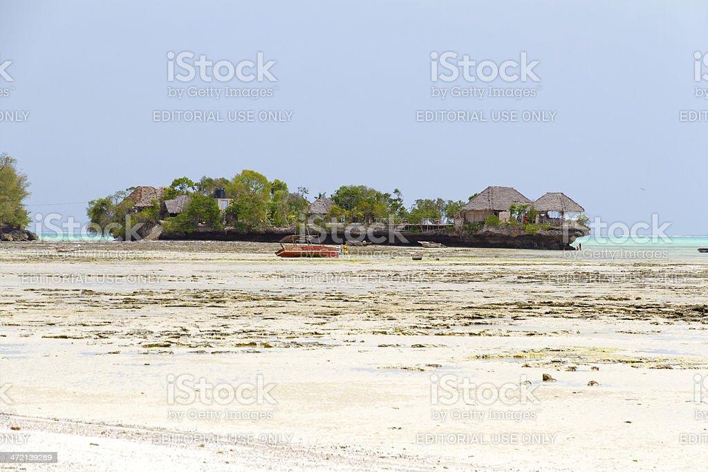 Village of fishermen at low tide stock photo