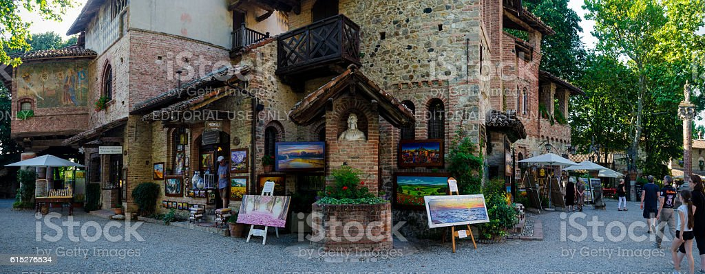 village of Grazzano Visconti stock photo