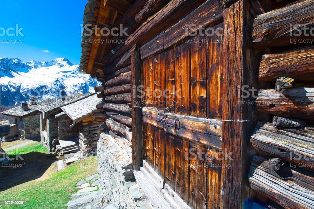 Village of grevasalvas in Engadine valley stock photo
