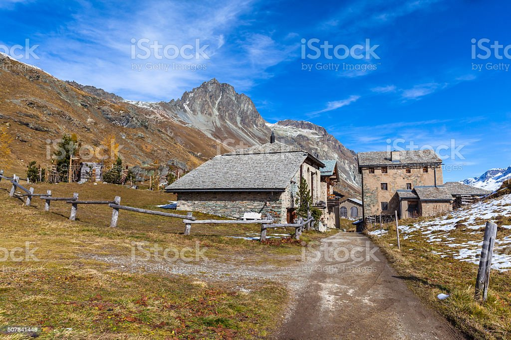 Village of Grevasalvas under Piz Lagrev stock photo