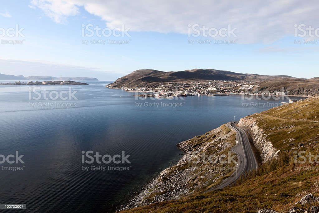 Village of Hammerfest, Norway stock photo