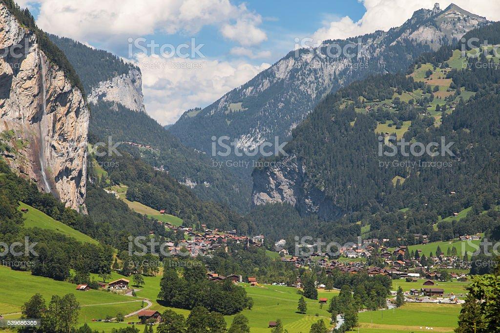 Village of Lauterbrunnen stock photo