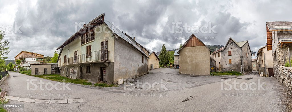 village of Le Vernet in the french Alpes stock photo
