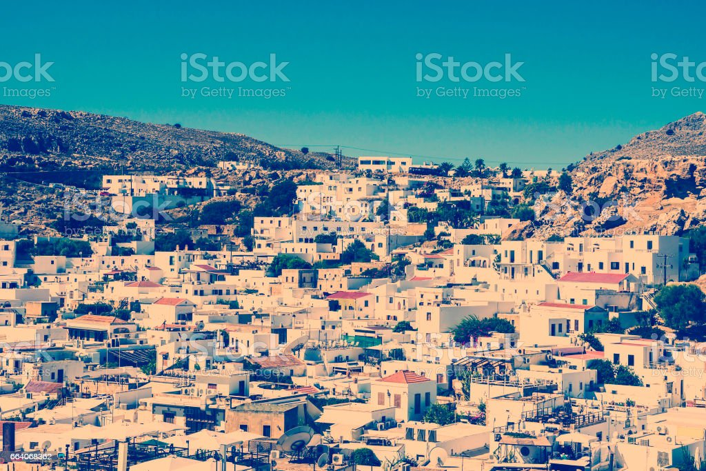 village of Lindos at Rhodes in Greece stock photo