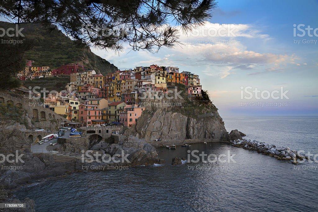 Village of Manarola with blue skies, Cinque Terre, Italy royalty-free stock photo