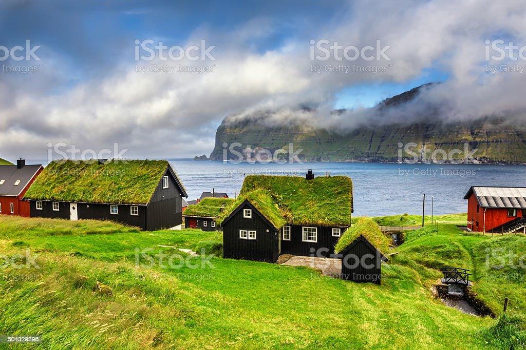 Village of Mikladalur, Faroe Islands, Denmark stock photo