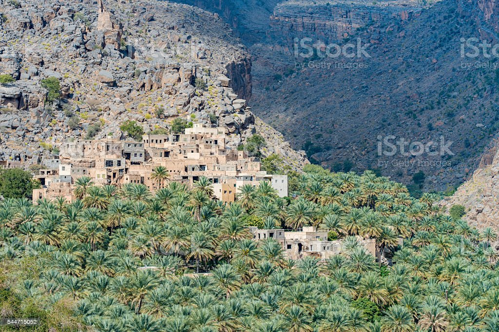 Village of Misfat Al Abriyeen, Sultanate of Oman stock photo