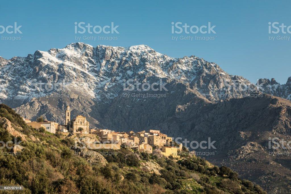 Village of Montemaggiore and Monte Grosso in Corsica stock photo