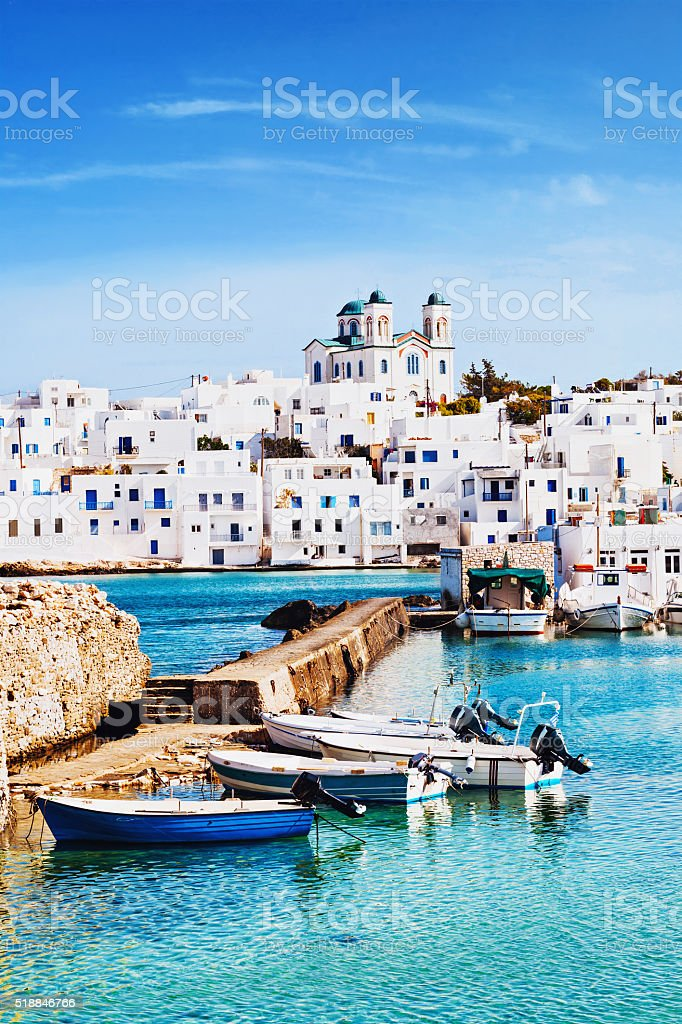 Village of Naousa, Paros island, Greece stock photo