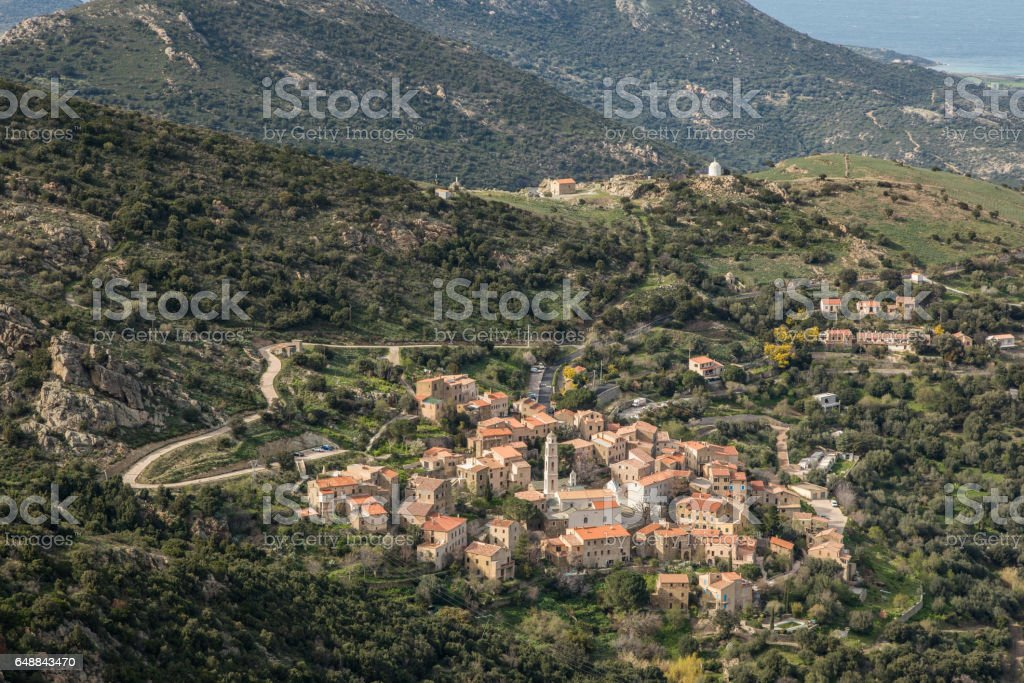 Village of Palasca in Balagne region of Corsica stock photo