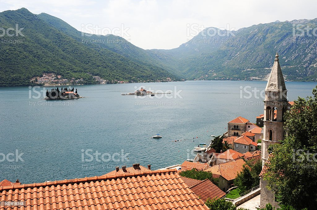 Village of Perast on the bay of Kotor stock photo