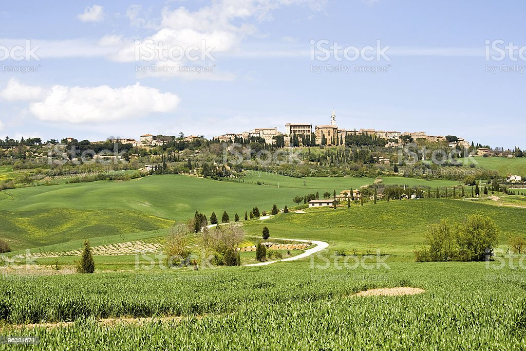 Village of Pienza in Tuscany stock photo