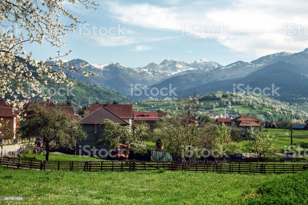 Village of Plav, in Montenegro, at the Albanian border, in the middle of the Balkans mountain chains stock photo