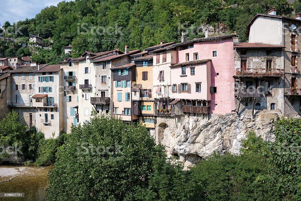 Village of Pont-en-Royans, Isere, France stock photo
