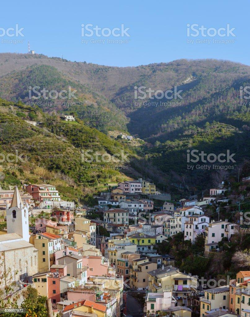 Village of Riomaggiore town in Italy stock photo