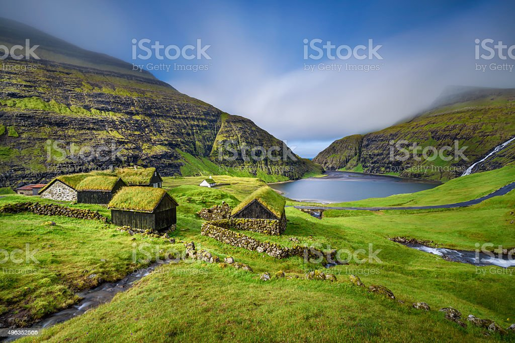 Village of Saksun, Faroe Islands, Denmark stock photo