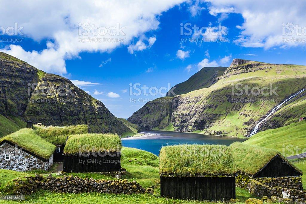 Village of Saksun, Faroe Islands, Denmark stock photo