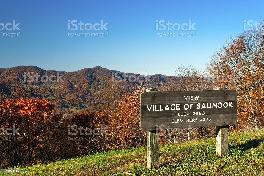 Village of Saunook Overlook, Blue Ridge Parkway, North Carolina, USA stock photo