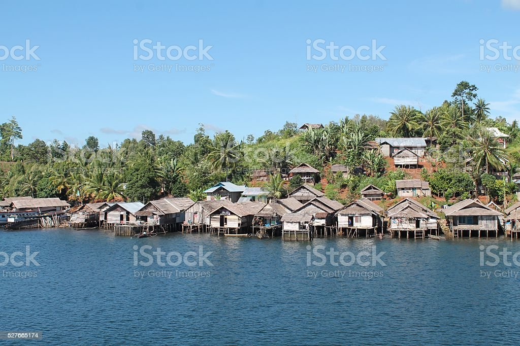 village of sea gypsies stock photo