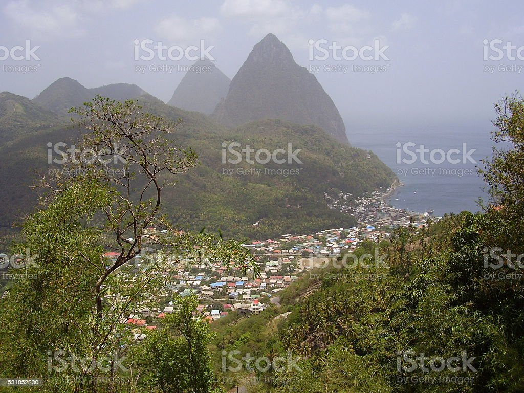 Village of Soufriere, St. Lucia stock photo