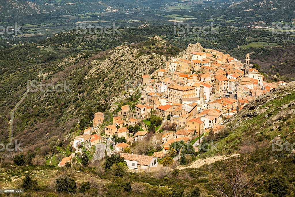 Village of Spelonato in Balagne region of Corsica stock photo