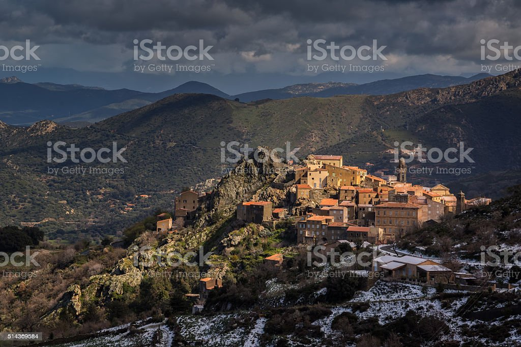 Village of Speloncato in Balagne region of Corsica stock photo