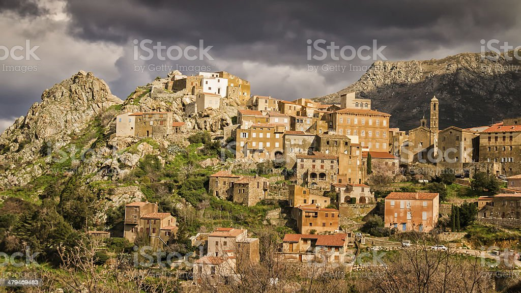 Village of Speloncato in the Balagne region of Corsica stock photo