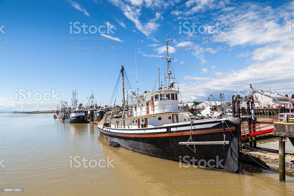 Village of Steveston Fisherman's Wharf in Richmond, BC stock photo