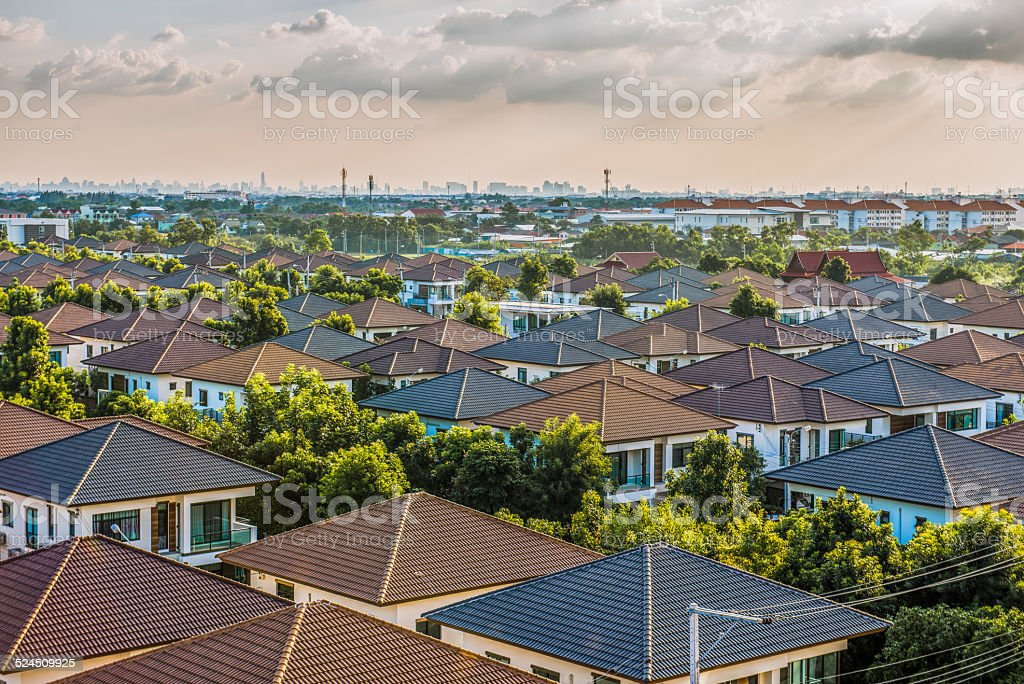 Village of townhouses. View from the height. stock photo