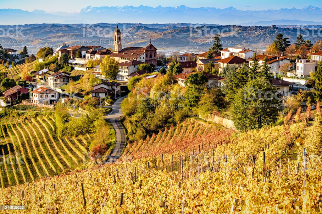 Village of Treiso in Langhe region, northern Italy stock photo