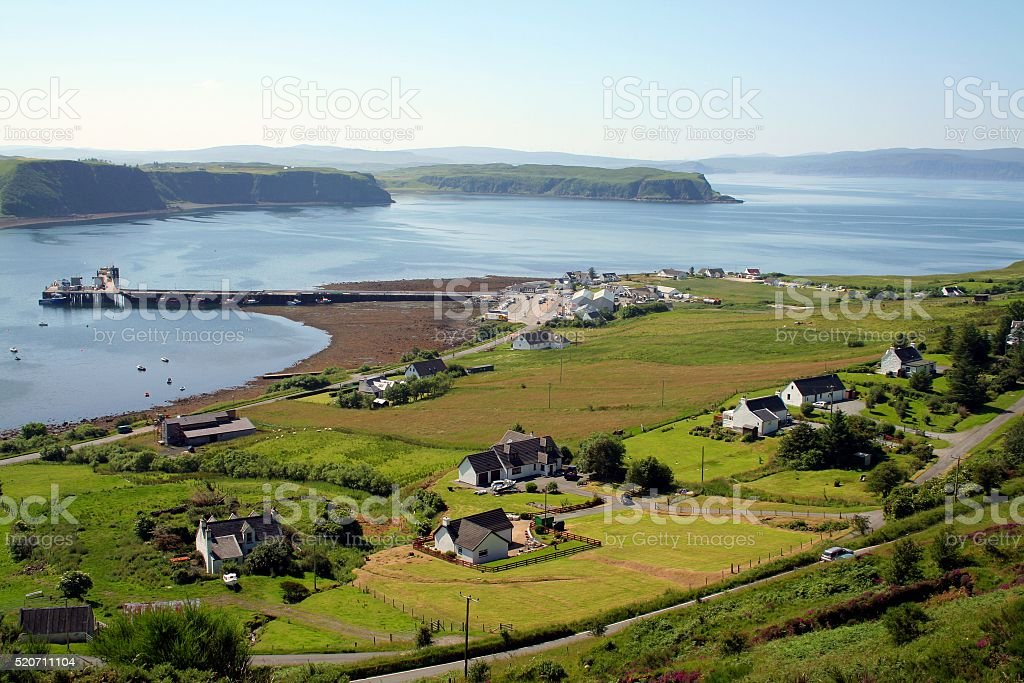 Village of Uig at Skye Island Scotland stock photo