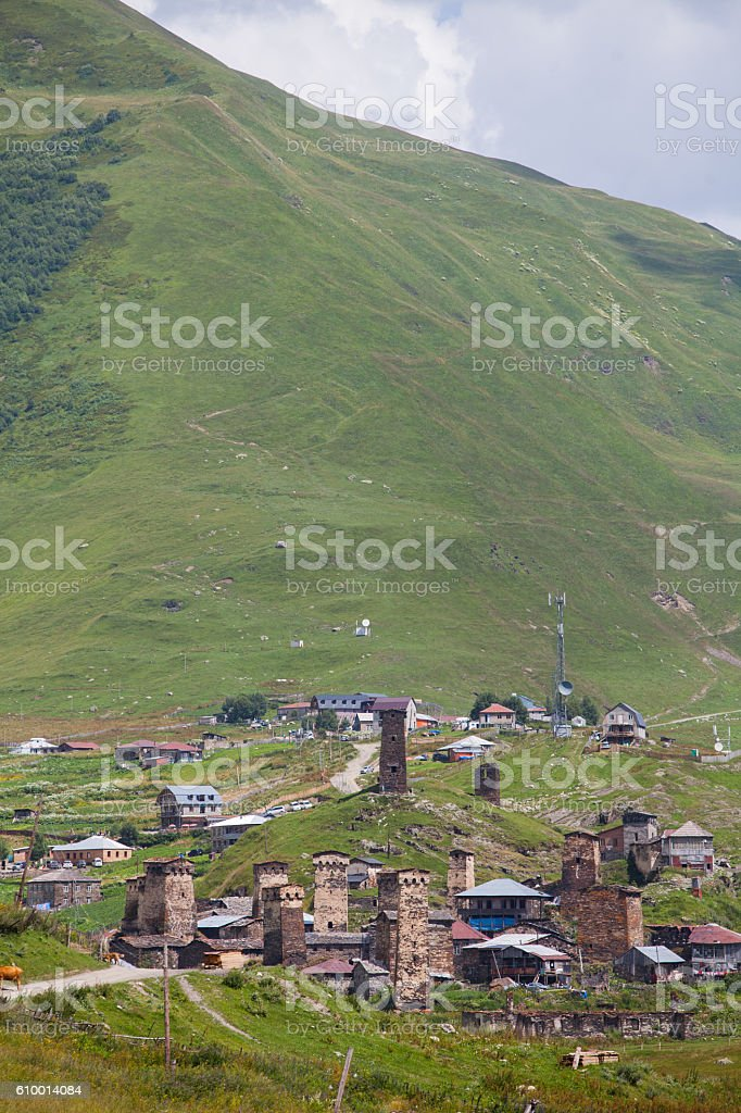 Village of Ushguli, Georgia stock photo