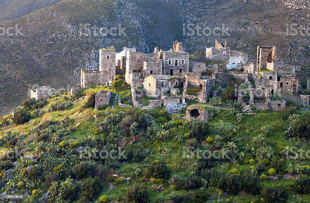 Village of Vathia at Mani in Greece stock photo