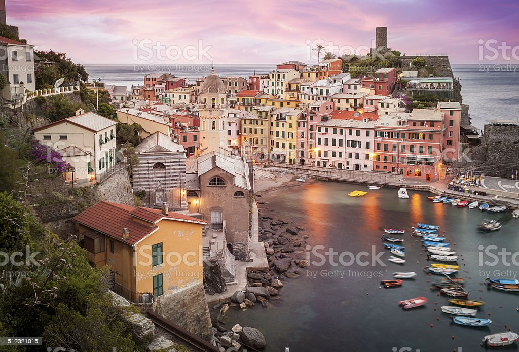 Village Of Vernazza At Dawn stock photo