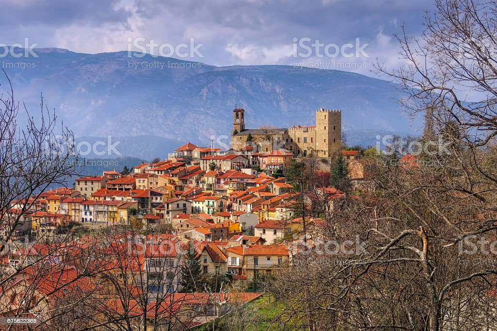 Village of Vernet Les Bains in Pyrenees, Languedoc-Roussillon stock photo