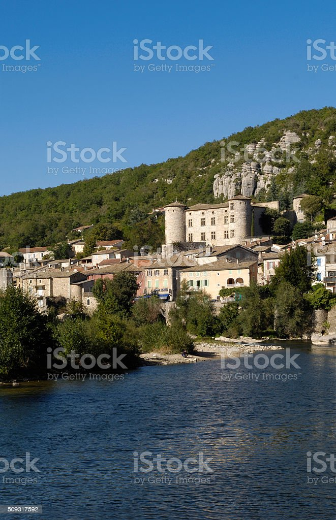 village of Vogüé, Rhone-Alpes,France stock photo