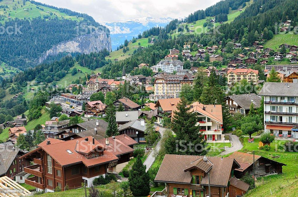 Village of Wengen, Switzerland stock photo