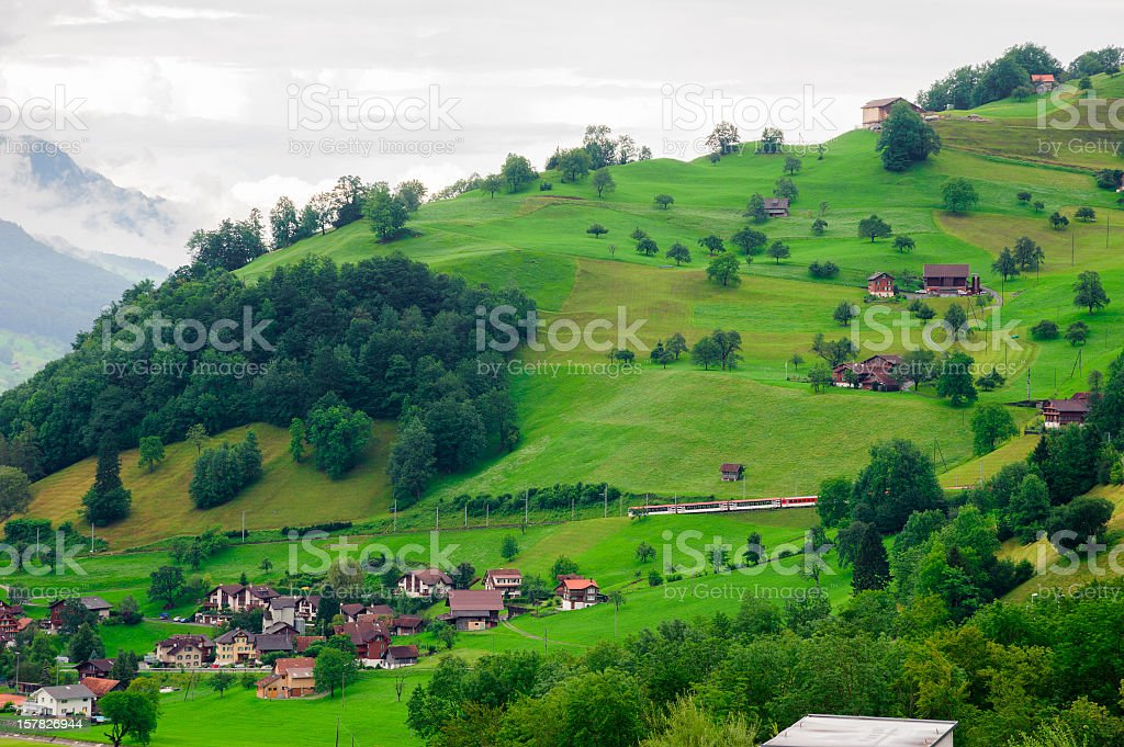 Village on Green Hill royalty-free stock photo