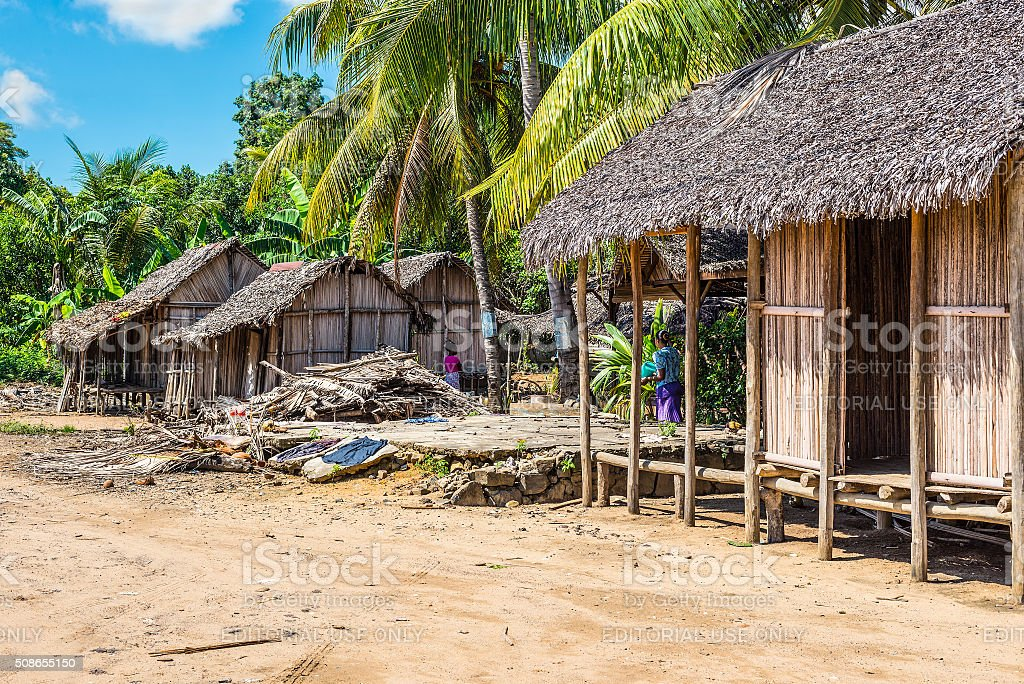Village on the beach in Madagascar stock photo