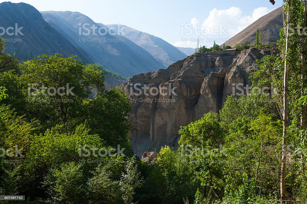 Village on the edge of canyon stock photo