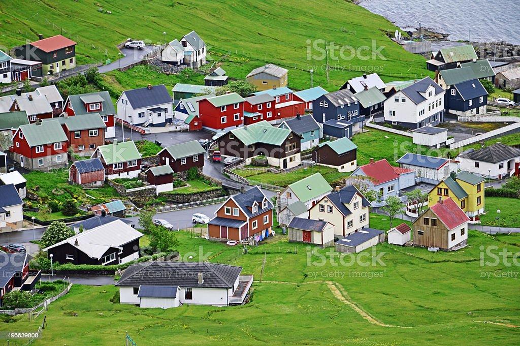 Village on the Faroe Islands stock photo