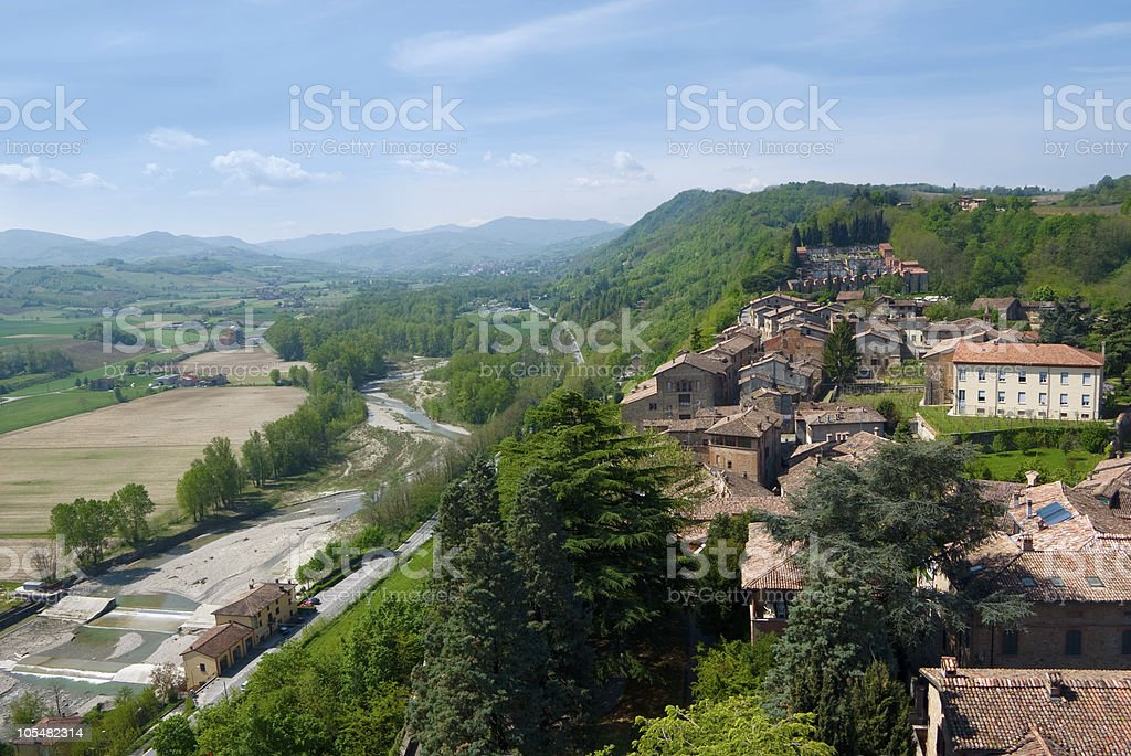 village on the hill stock photo