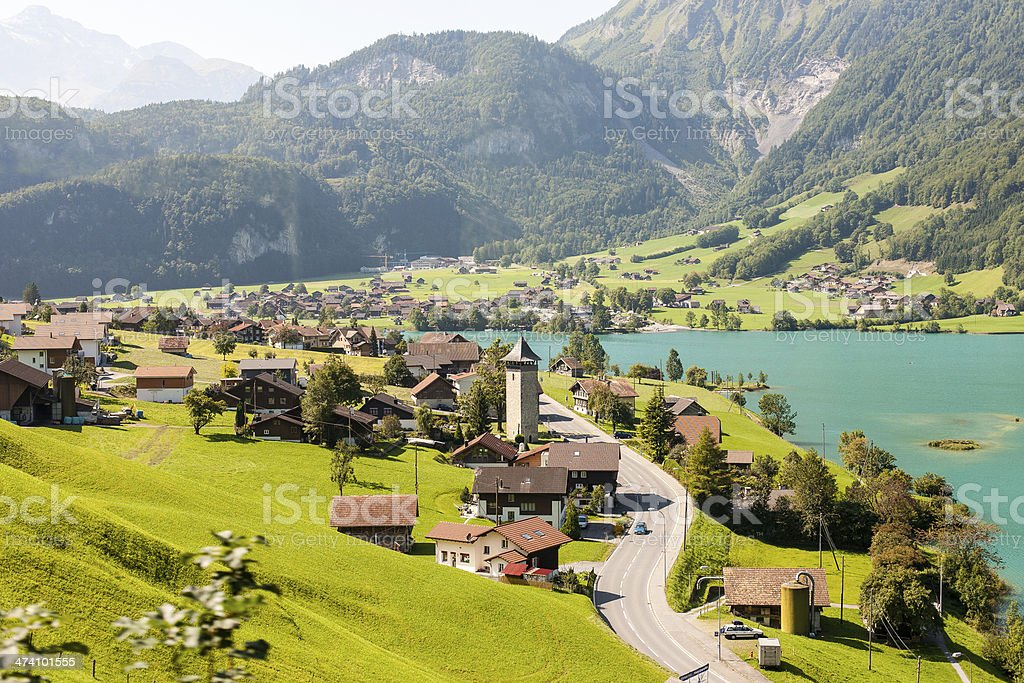 Village on the Lake Lungern in Switzerland stock photo