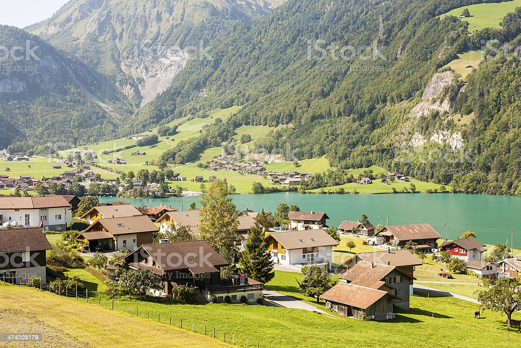 Village on the Lake Lungern in Switzerland royalty-free stock photo