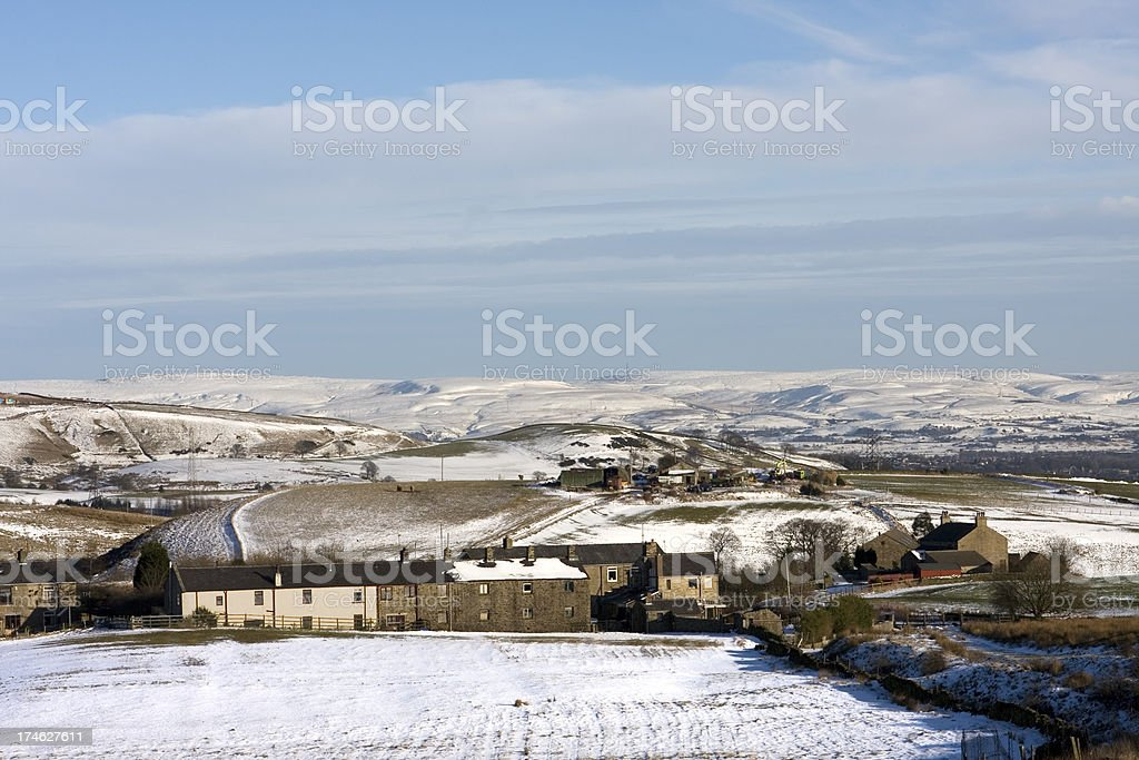 Village on the moors in winter royalty-free stock photo